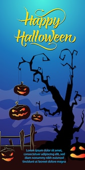 Happy halloween lettering. jack o lanterns hanging on dry tree