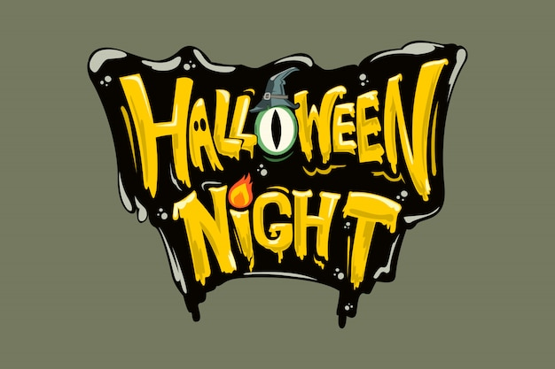 Happy halloween  lettering logo.