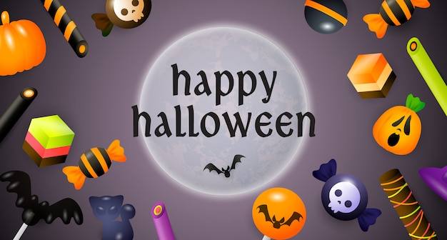 Happy halloween lettering, moon, sweets and candies