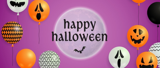 Happy halloween lettering on moon with balloons