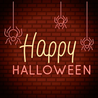 Happy halloween lettering in neon light with spiders hanging