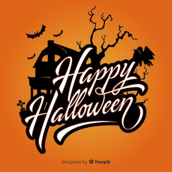Happy halloween lettering on orange background
