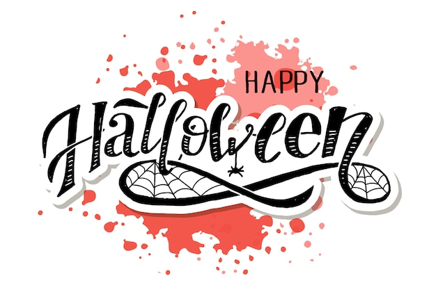 Happy halloween lettering on pink brush