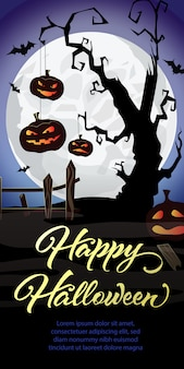 Happy halloween lettering. pumpkins on graveyard tree and bats