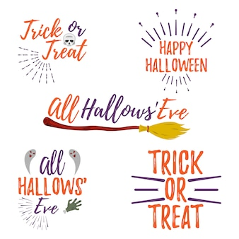 Happy halloween lettering. trick or treat. all hallows' eve
