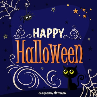 Happy halloween lettering with cat