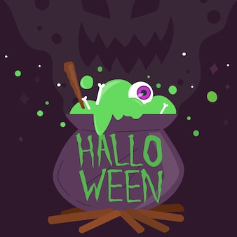 Happy halloween lettering with cauldron