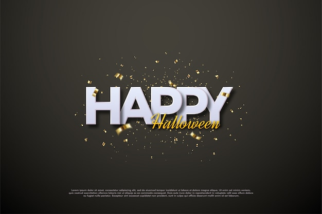 Happy halloween lettering with elegant 3d writing.