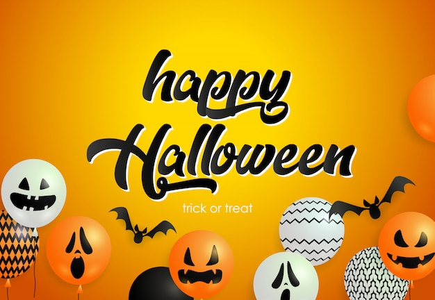 Happy halloween lettering with flying bats, ugly mask balloons