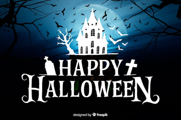 Happy halloween lettering with haunted house