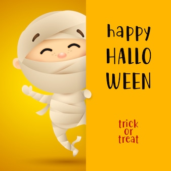 Happy halloween lettering with kid in mummy costume
