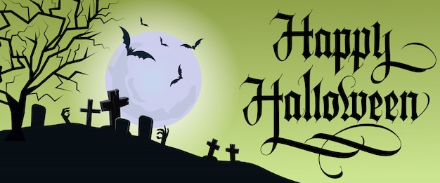 Happy halloween lettering with moon and graveyard