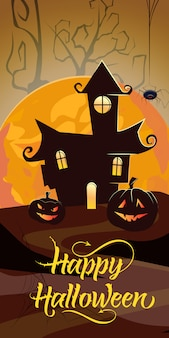 Happy halloween lettering with orange moon, castle and pumpkins