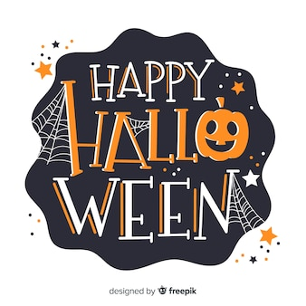 Happy halloween lettering with pumpkin