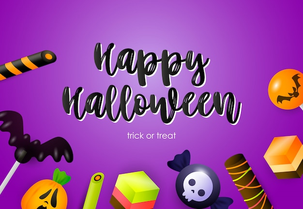 Happy halloween lettering with sweets and holiday attributes