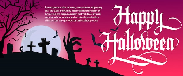 Happy halloween lettering with tree and cemetery