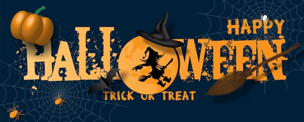 Happy halloween letters in banner design with 3d of pumpkin and  witch broom, witch hat on web spiders and dark blue background.