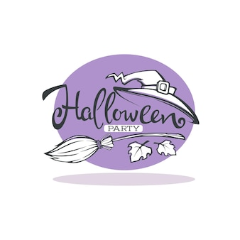 Happy halloween linear greeting card with lettering composition and witch hat