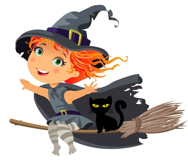 Happy halloween, little witch flying on a broom