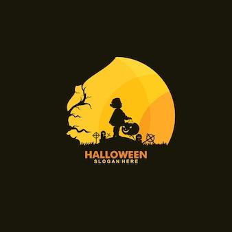 Happy halloween logo design template illustration vector