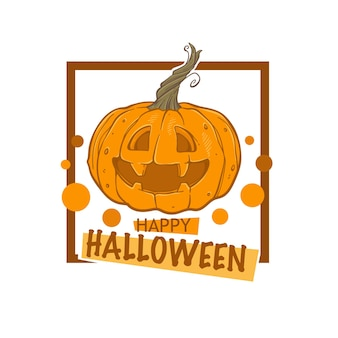 Happy halloween logo, label, emblem, with sketch drawing pumpkin , and frame