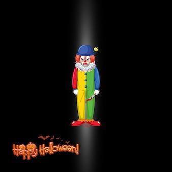 Счастливый хэллоуин логотип с жутким клоуном