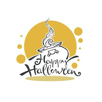 魔女のカドロンとレタリングの構成で幸せなハロウィーンのロゴ