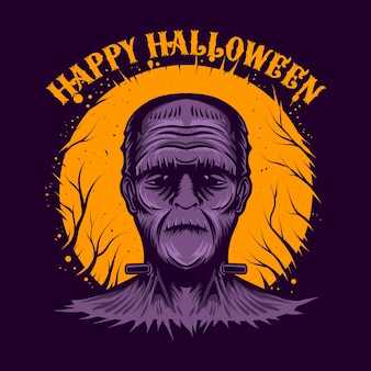 Happy halloween mascor character  illustration night theme