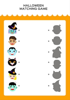 Happy halloween matching game for children. education game for kids. match monsters and shadow. vector.