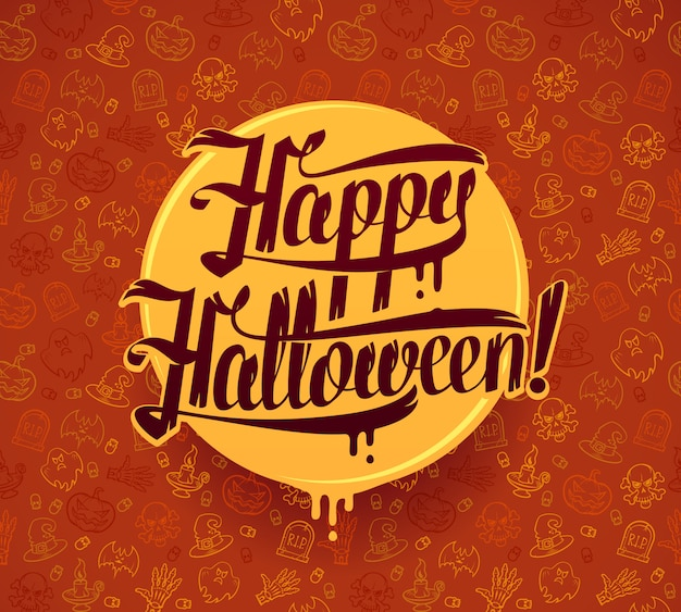 Happy halloween message on bright texture brown background hand lettering  illustration