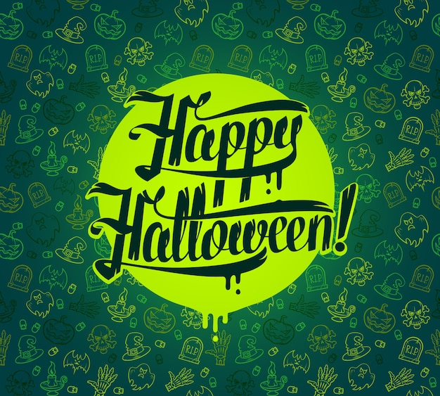 Happy halloween message on bright texture green background  illustration