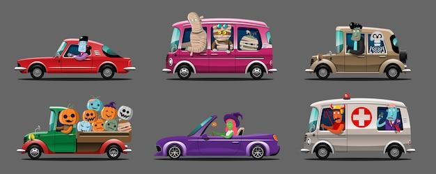 Счастливый хэллоуин монстр персонаж водить машину набор