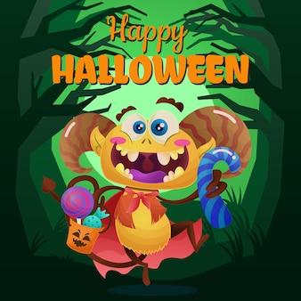 Уловка или угощение с монстром хэллоуина
