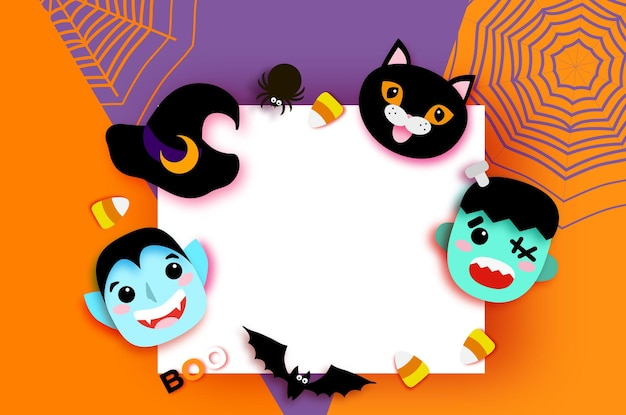 Happy halloween. monsters. dracula and black cat, frankenstein. funny spooky vampire. trick or treat. bat, witch hat, spider, web, candy, bones. space for text orange