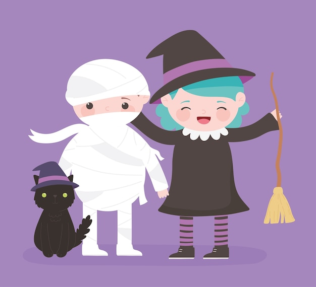 Happy halloween, mummy witch and cat costume character trick or treat, party celebration
