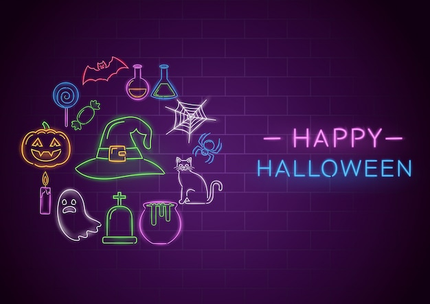 Happy halloween neon banner