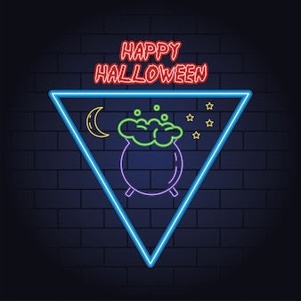Happy halloween neon light of cauldron vector illustration design Premium Vector