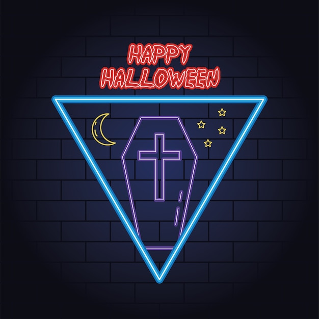 Happy halloween neon light of coffin and moon vector illustration design