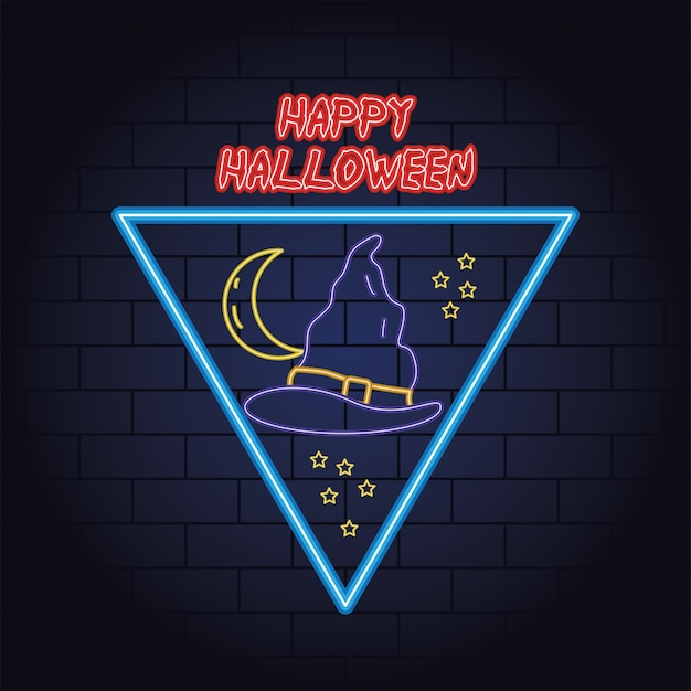 Happy halloween neon light of witch hat vector illustration design