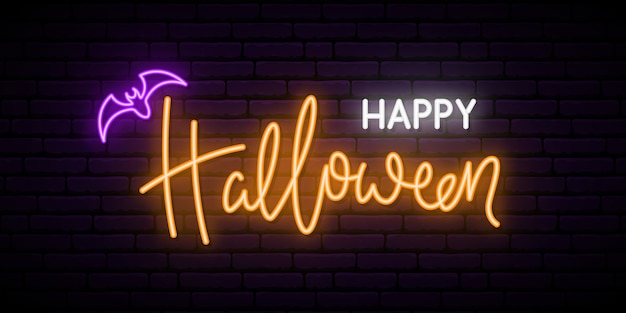 Happy halloween neon sign board.