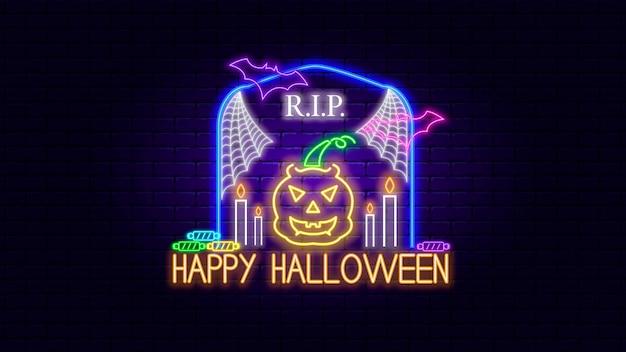 Happy halloween neon sign effect