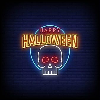 Happy halloween neon signs style text