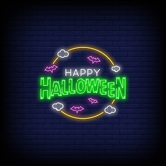 Happy halloween in neon signs style
