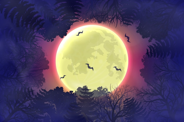 Happy halloween night background with forest silhouette
