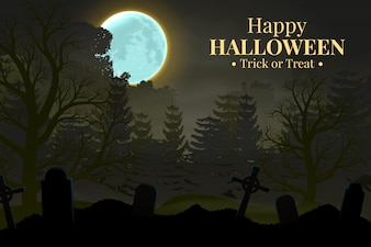Happy Halloween night background with forest silhouette.