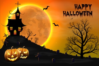 Happy Halloween night background with haunted scary house and full moon.