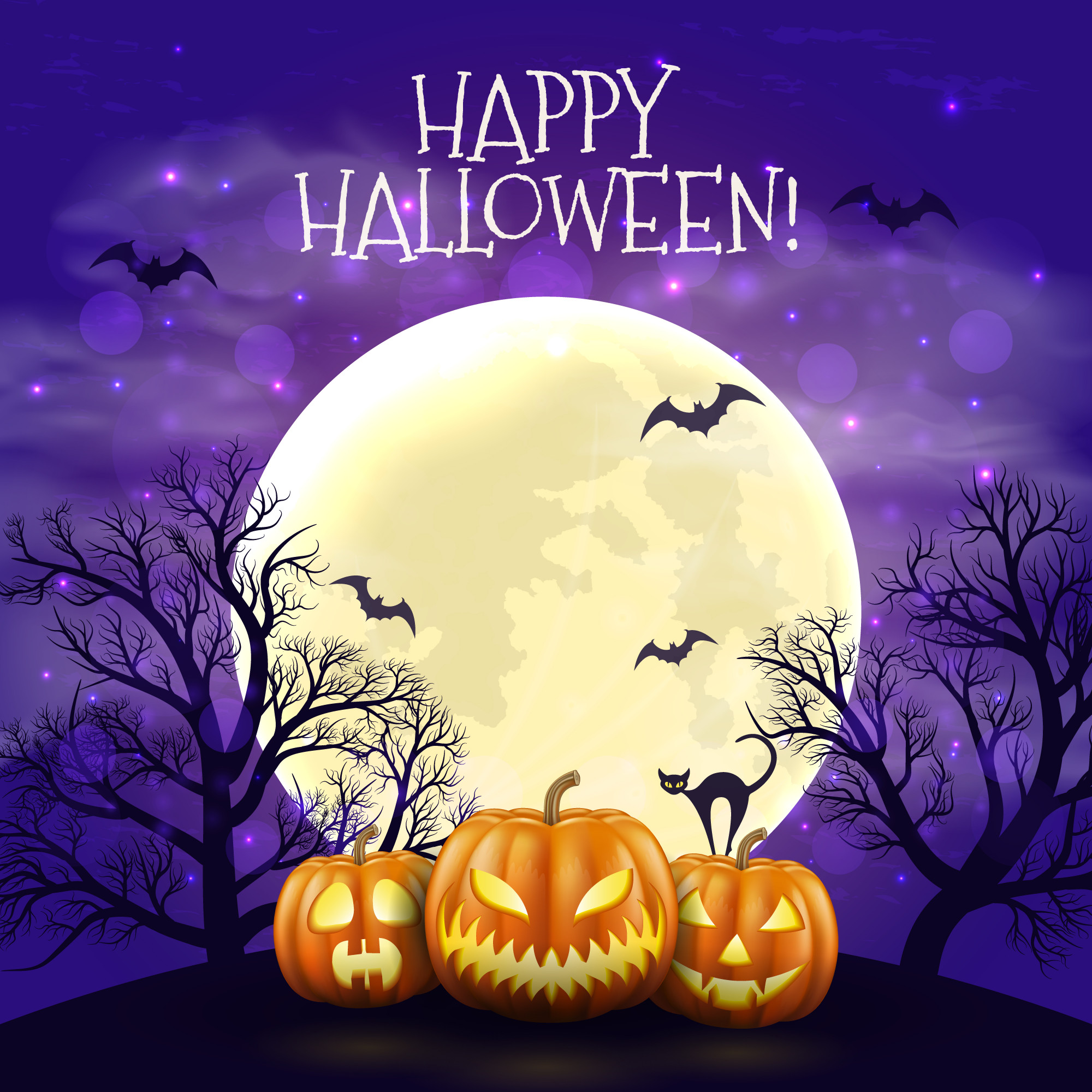 Happy Halloween night background with realistic scary pumpkins and moon.