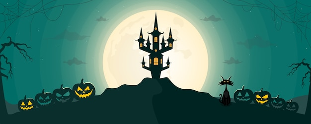 Happy halloween night landscape background with moon and scary castle.