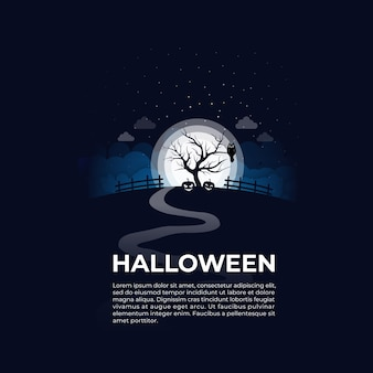 Happy halloween in night outdoors