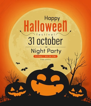 Happy halloween night party banner